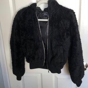 3 for $30! Black Faux Fur zip up hoodie jacket